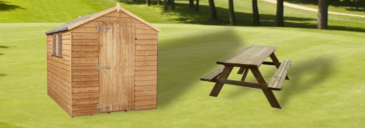 Πάγκος πικ-νικ και ξύλινη αποθήκη